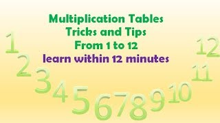 Multiplication Table Tricks and Tips |1 - 12 tables| From First to Twelfth Tables