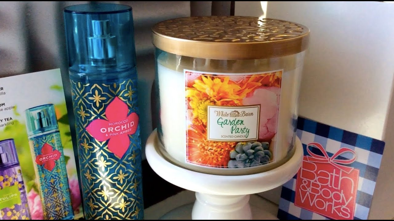 Bath body works garden party candle morocco orchid for Bath and body works scents best seller