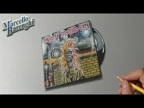 Drawing time lapse: Iron Maiden cover and vinyl - hyperrealistic art