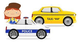 Cars Cartoon for Kids. Police car & taxi.