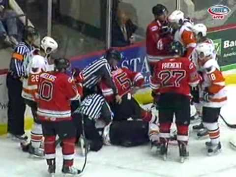 4-10-10 Adirondack Phantoms vs. Albany River Rats Scrum Video