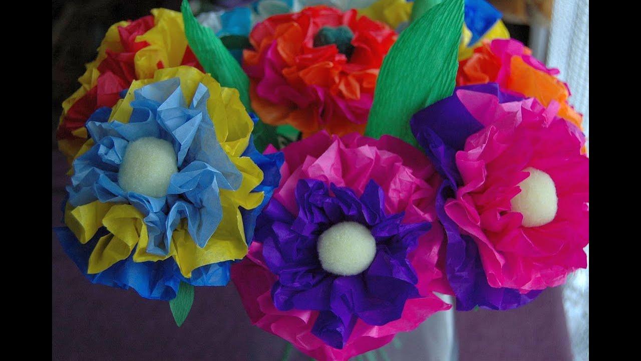 Jak zrobić kwiaty z bibuły Tissue flowers DIY  YouTube