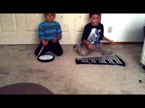 Animals by Martin garrix played by 10 year old and 7 year old on bell kit and drum pad