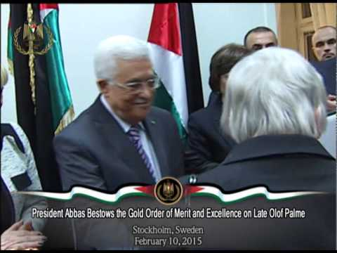 President Abbas Bestows the Gold Order of Merit and Excellence on Late Olof Palme