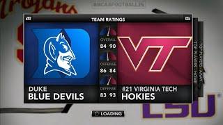 129 Team CPU vs CPU NCAA Football 14 Tournament - #6 Virginia Tech vs #14 Duke Full Game