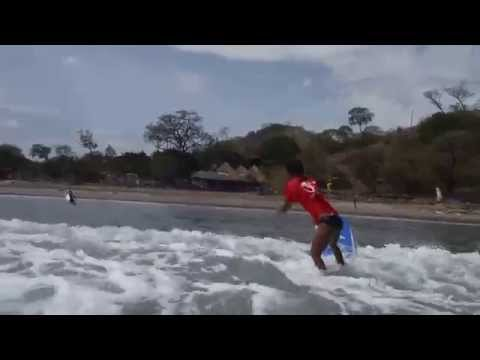 Surfing at Playa Remanso near San Juan del Sur in Nicaragua - Daisy small wave