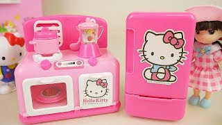 Baby doll and Hello Kitty kitchen toys play