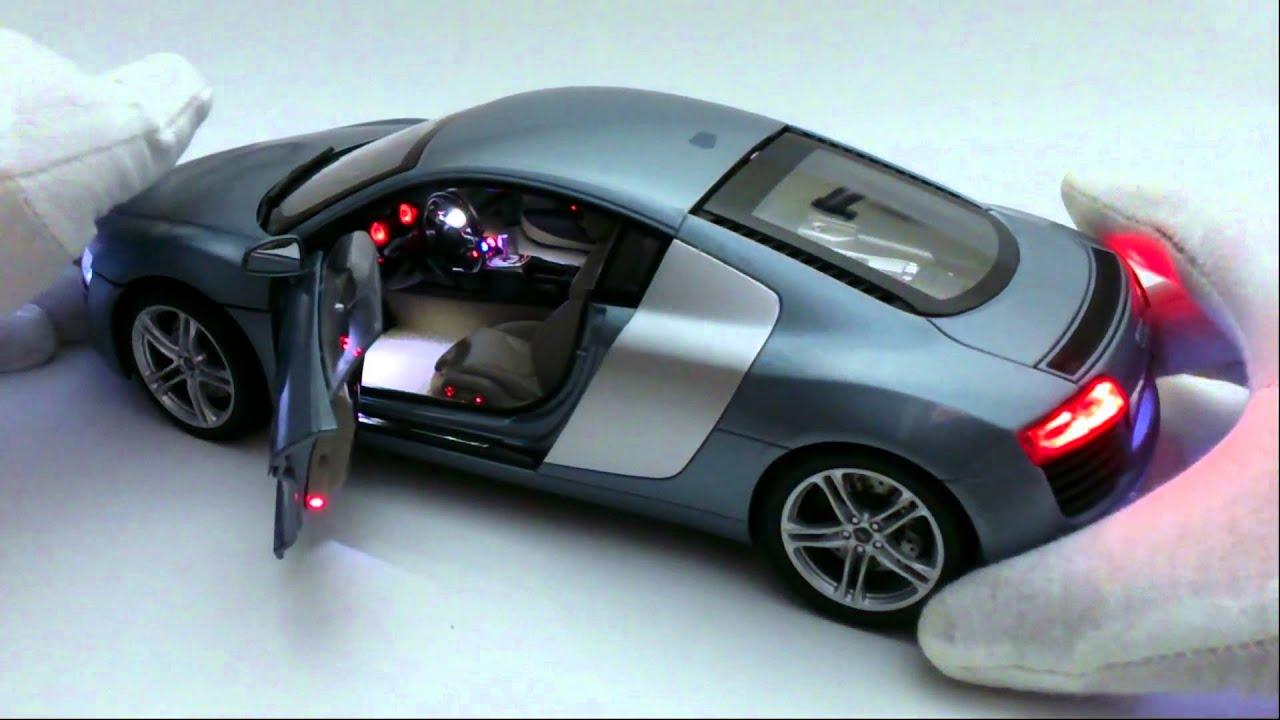 Audi R8 leds control remoto escala 1-18 - YouTube