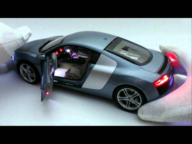 Audi R8 leds control remoto escala 1-18 - YouTube
