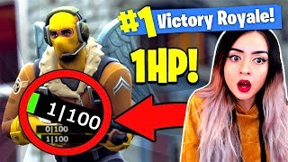 The CRAZIEST 1HP Clutch Win on Fortnite ! - Battle Royale