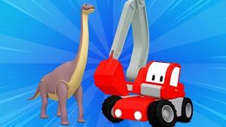 Tiny Trucks - Jurassic world - Kids Animation with Street Vehicles Bulldozer, Excavator & Crane