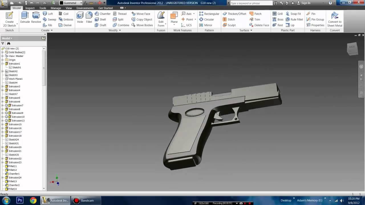 Glock Pistol Created In Autodesk Inventor Youtube