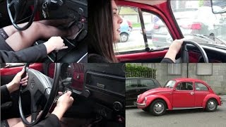 Miss Iris & the WV Beetle driving, stalling and cranking | Trailer Pedal Pumping