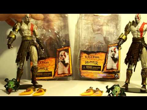 KRATOS MEDUSA HEAD KNOCK OFF NECA GOD OF WAR 2 GOLDEN FLEECE ARMOR ACTION FIGURE TOY REVIEW