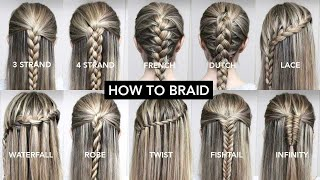 10 Basic Braids For Beginners | Easy DIY Tutorial