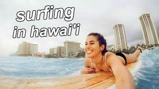 surfing in hawaii with me and hannah meloche!