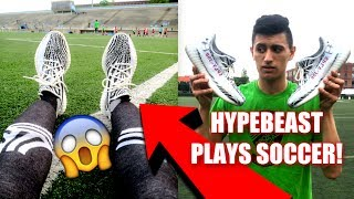 PLAYING FOOTBALL IN ZEBRA YEEZYS! (VERY DANGEROUS) (Soccer in Yeezy Boost)