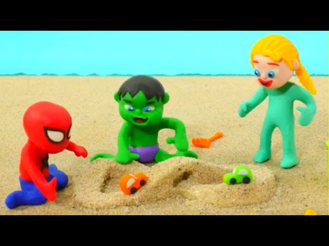 Superhero Babies Play With Sand Frozen Elsa Spiderman Hulk Play Doh Cartoons Stop Motion