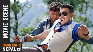 Gangster vs Businessman Fight | Nepali Movie MERI KUSUM Scene | Mohan Bogati, Harshika Shrestha