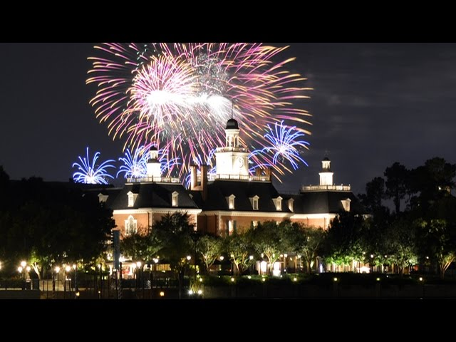 Disney FROZEN Fireworks Viewing from Epcot's World Showcase Over The American Adventure