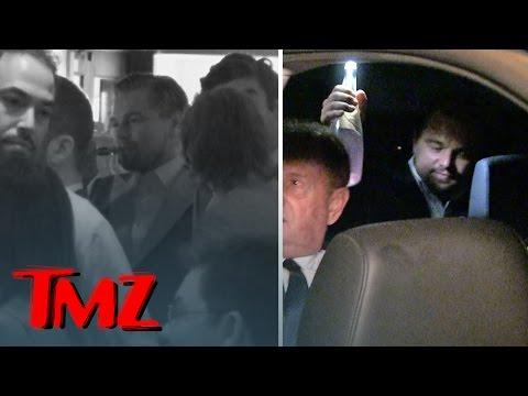 Leonardo DiCaprio Celebrates Oscar Win