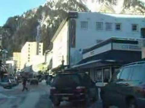 Winter drive thru Downtown Juneau Alaska