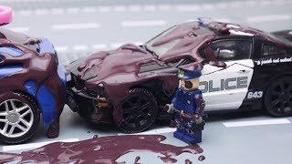 Transformers Stop Motion Part 3 - Optimus Prime vs Police, Tobot, Lego Animation Robot car for kids