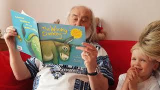 Funny, great granddad reading story wonky donkey