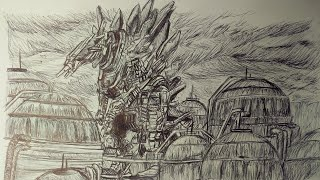 Drawing Mechagodzilla/ Mechagodzilla City From The Second Anime Godzilla Movie