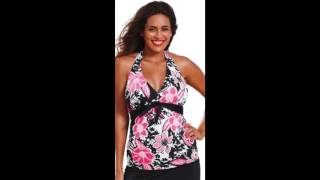 Shore Club Womens Plus Size Rosewood Tie Front Halter Tankini Top Multi