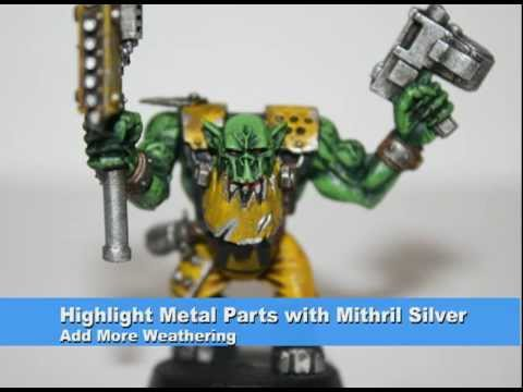 Warhammer 40k Painting Tutorial - How to Paint a Bad Moonz Ork/Nob