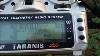 Taranis X9D ukázka telemetrie po letu s Beta 1400