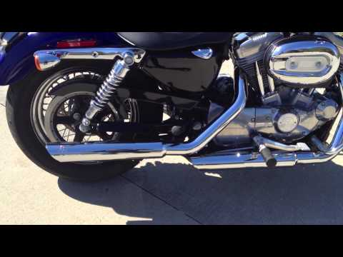 Stock Harley Sportster Exhaust vs. Vance and Hines Twin Slash Slip ons