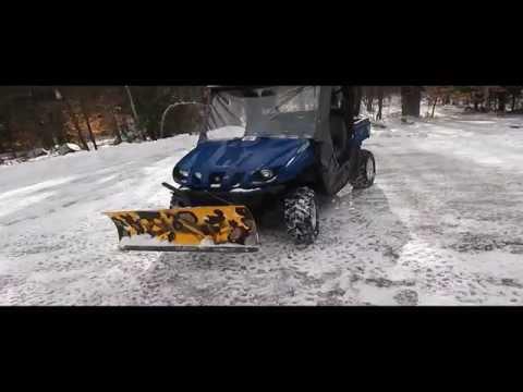 2007 Yamaha Rhino 660 Plow Setup. Plowing snow with a rhino. UTV plowing snow