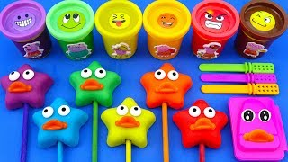 Making 6 Colors Play Doh Stars Ice cream Cups Surprise Disney Princess Yowie kinder surprise eggs