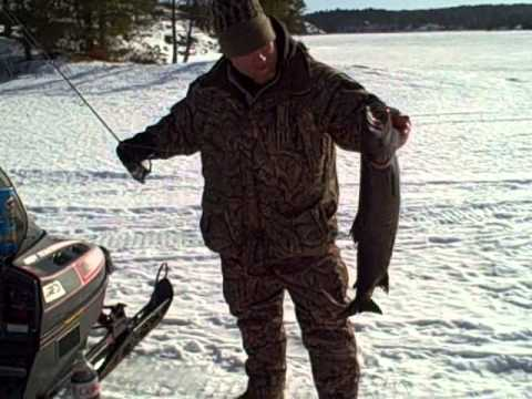 Lake Trout Ice Fishing Burntside Lake Ely MN.wmv