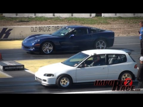 Corvette vs Turbo Civic - Plus BurnOut