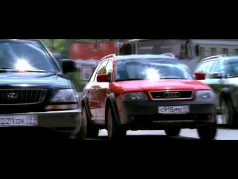 Красная AUDI уходит от погони