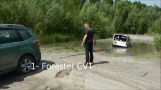 Subaru Forester CVT Is Pulling Defender Out Of The Mud