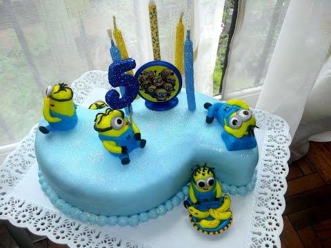 "Minion Theme Cake - Торт ""Миньоны"" (сахарная мастика)"