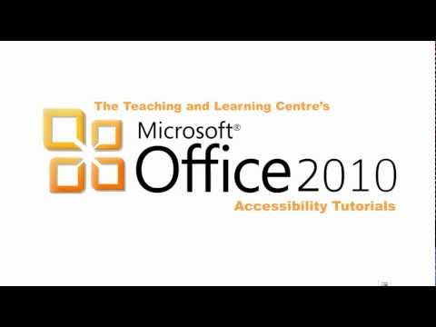 Microsoft Office 2010 Accessibility Tutorial: General Tips - Accessibility Checker and Alt Text