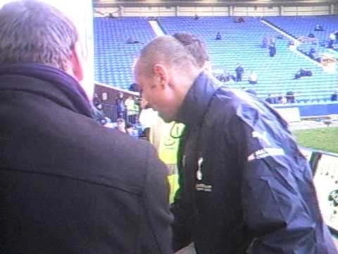 Tottenham Hotspur Goal keeper   Heurelho  Gomes come's over to sign Autographs for Fans