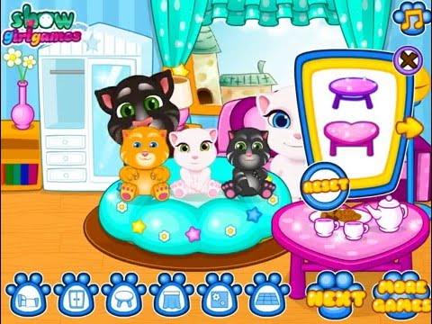 Детская Игра Мультфильм - Говорящий кот Том и Анжела: Уборка детской комнаты