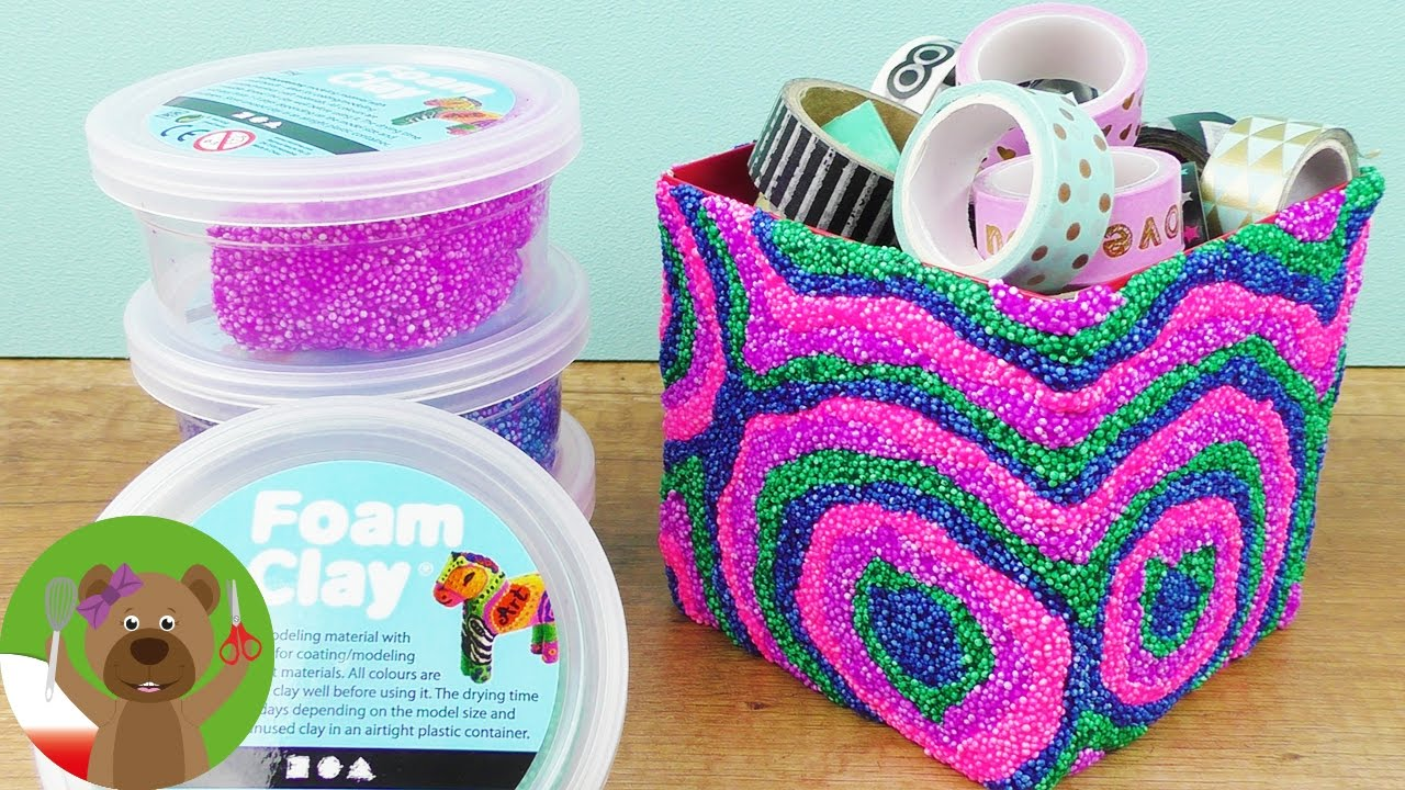 Pudełko ozdobione masą piankową | Foam Clay | ze starego nowe | uroczy pomysł