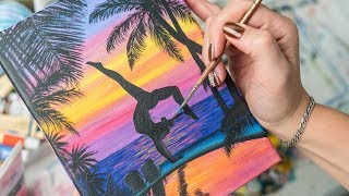 Yoga asana near the Exotic Pool on Sunset - Acrylic painting / Homemade Illustration (4k)