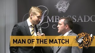 The Tigers v Liverpool | Michael Dawson Man Of The Match Presentation