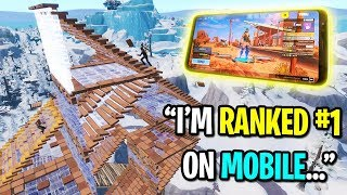 I challenged the BEST Fortnite Mobile player to a playground 1v1... (Fastest Mobile Builder)
