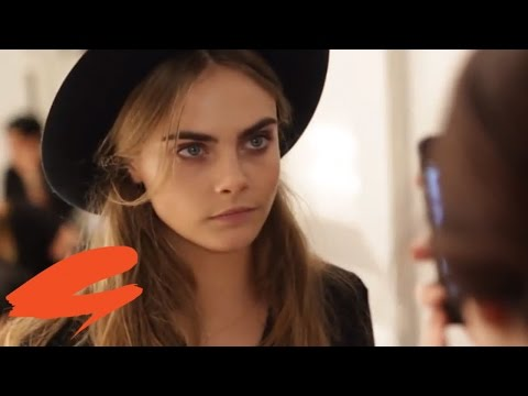 Backstage with Cara Delevingne at Burberry London Fashion Week AW14