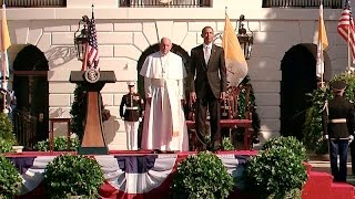 Obama  Welcomes the  Pope Francis to the White House
