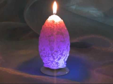 Супер-свеча яйцо цветочное Хамелеон, артикул 1042 (Омский Свечной) , Candle Egg Carved
